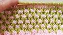 2 Renkli Lale Modeli Knitted Tulip Stitch