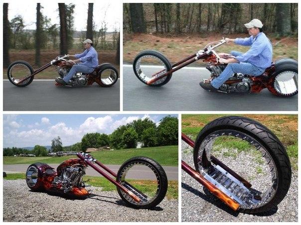 Первый в мире мотоцикл на колесах без спиц и дисков.