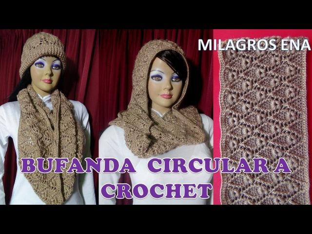 Bufanda Chalina Circular Infinita a crochet en PUNTO HOJITAS paso a paso en video tutorial