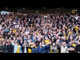 The staff and players salute the incredible 3,000 travelling Wolves fans after the full time whistle. MUNWOL - -