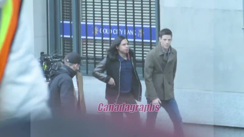 The Flash shoots a scene for episode 517 with Barry, Cisco Nora