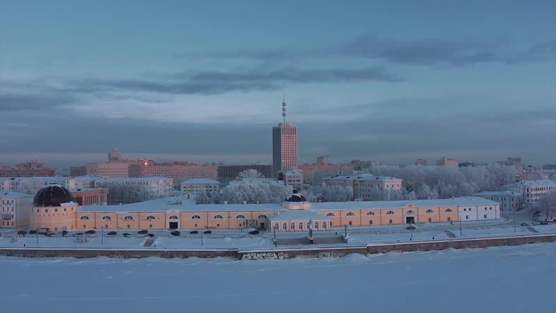 Настоящая зима в Архангельске с высоты