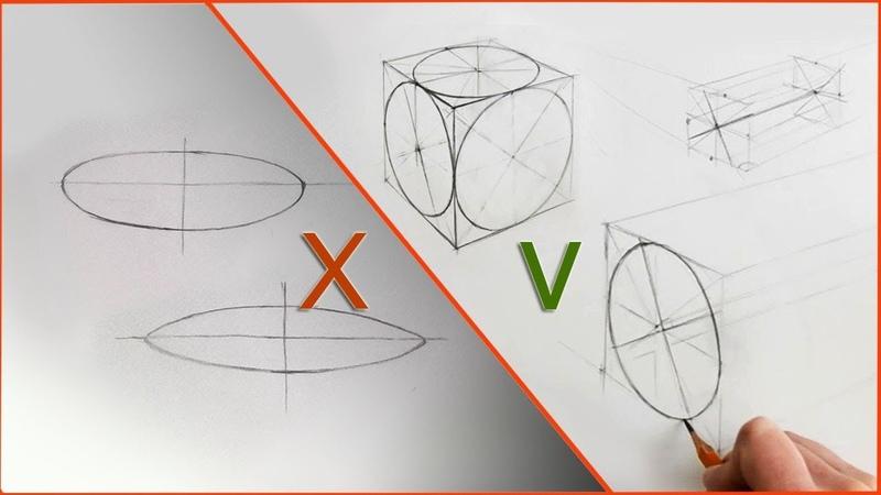 Как нарисовать круг в перспективе рисуем эллипс основы рисунка