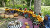 Tasty HilsaElish Fish &amp Pumpkin Mashed Cooking By Women To Feed Full Village Peoples With Rice