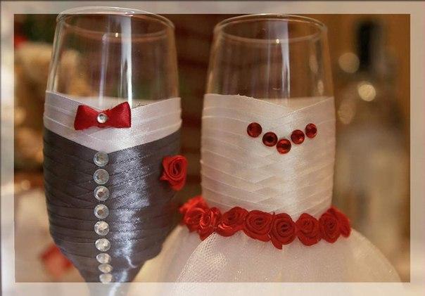 Красивые бокалы для шампанского своими руками