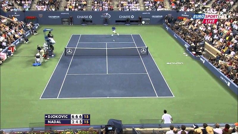 Fantastic point between Rafael Nadal and Novak Djokovic in 2011 Us Open Final (HD)
