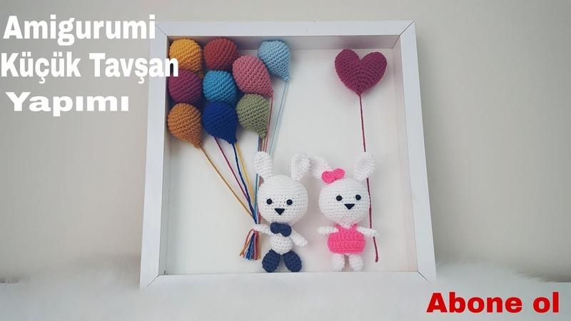 Amigurumi küçük tavşanlı pano yapımı