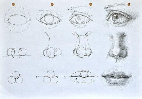 Как нарисовать глаз, нос и рот.