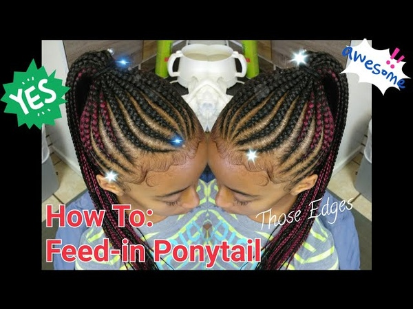 5 How to Feed in Genie Ponytail with a dab of red swirled edges Braided Ponytail