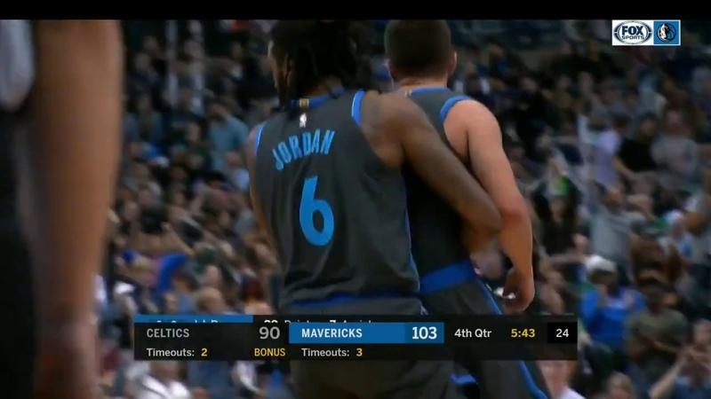 DeAndre Jordan carries J.J. Barea to the bench