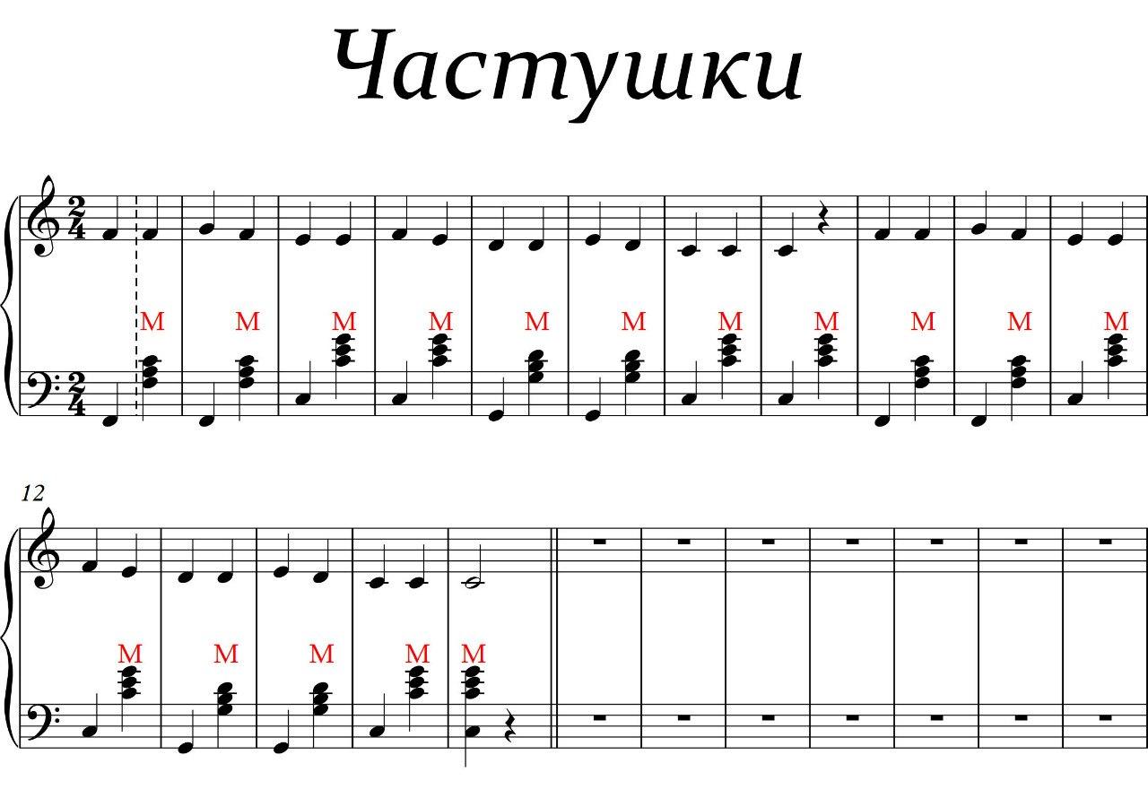 Схема нот для аккордеона малыш