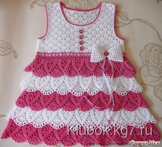 Вяжем крючком платье детское видео