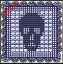 Вязание. со схемами. череп.  0. Crochet Skull Doily in the Filet Lacet Stitch.  Июл.