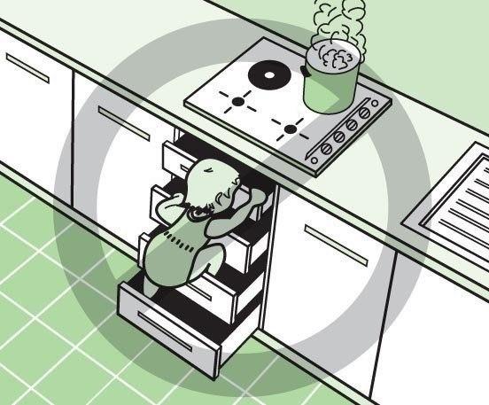 Не устанавливайте нижние шкафы с ящиками близко к плите — маленькие дети могут добраться по ним до плиты и обжечься.