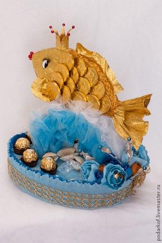 Подарок рыбаку из конфет