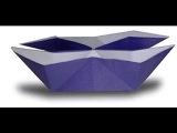 double origami boat. оригами двойная лодка.