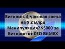 Биткоин 4 часовая свеча на $ 2 млрд Манипуляция $5000 за Биткоин от CEO BitMEX