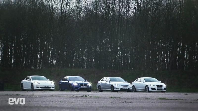Drag Race- BMW M5 vs Porsche Panamera S vs Mercedes E63 AMG vs Jaguar XFR - Evo Exclusive