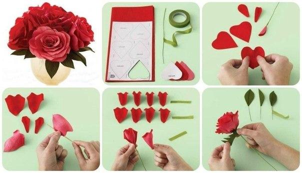 Как сделать поделку из розы