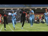Usain Bolt plays promotional cricket match with Indian legends Yuvraj Singh, Harbajhan Singh