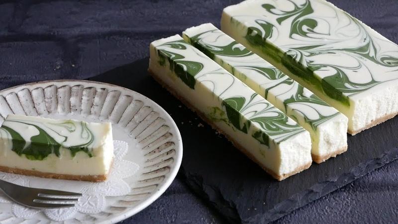 抹茶で描くマーブル模様のレアチーズ。No-Bake white chocolate cheesecake (Matcha swirl)