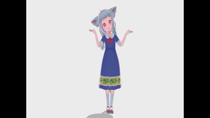 Cute anime girl with neco ears dances to a new national anthem