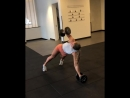 Renegade row to rotation challenging upper bod strength and core stability Goal is to keep the DB close to bod driving it one