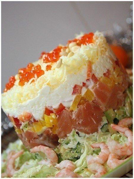 Сёмужный тортик Ингредиенты: филе семги слабосоленой (солила сама, добавляла