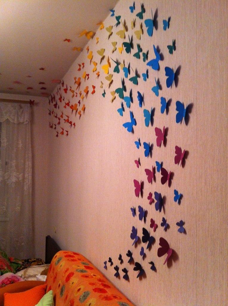 Бабочки на стенах своими руками фото