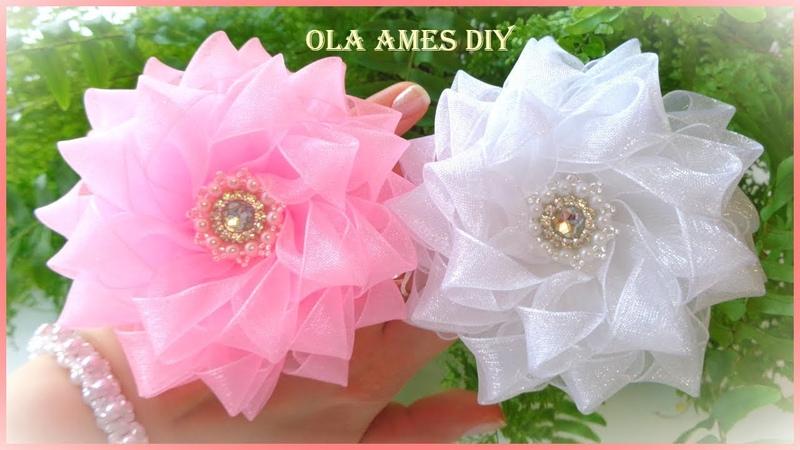 Пышные цветы из органзы Канзаши Organza Flower Tutorial Flores de Organza Ola ameS DIY