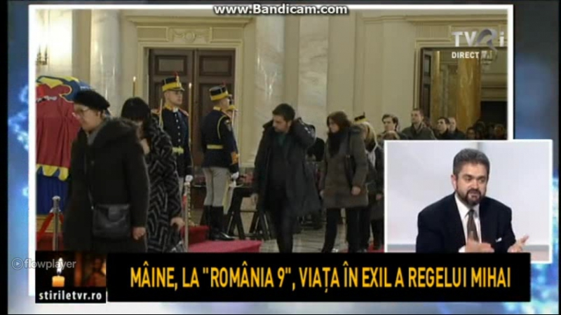 The TVR International channel during the Romanian mourning days of the country king Mihai I