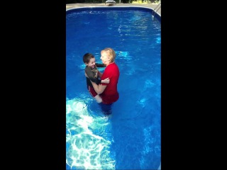 My mother and J-MAN having fun in the pool....fully clothed ;-)