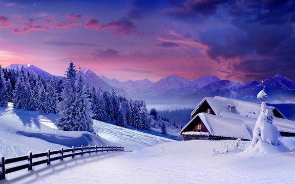 Зимний вечер в Карпатах