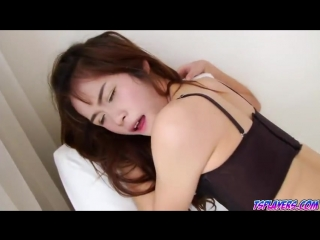 Asian shemale Nat fucked in her tight ass by a big fat cock