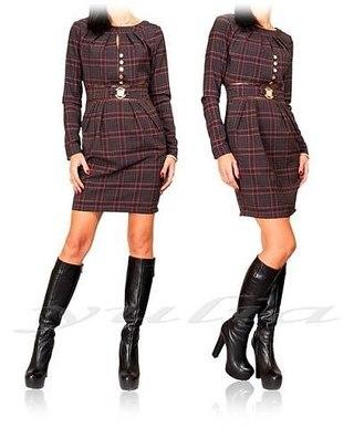 Платье в клетку с поясом на сайте совместных покупок Репка.