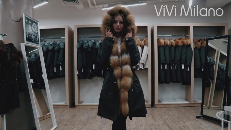 Куртка Парка с натуральным мехом Лисы