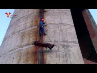 Альпинист из Санкт-Петербурга сорвался с трубы ТЭЦ в Глазове. Спастели спускали молодого человека с высоты 70 метров. Видео ПСС Удмуртии