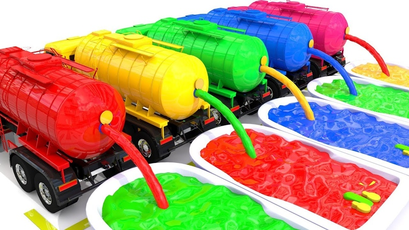 Wheels On The Bus Learn Colors Baby Monkey Water Tank Truck Nursery Rhymes for Kid Children