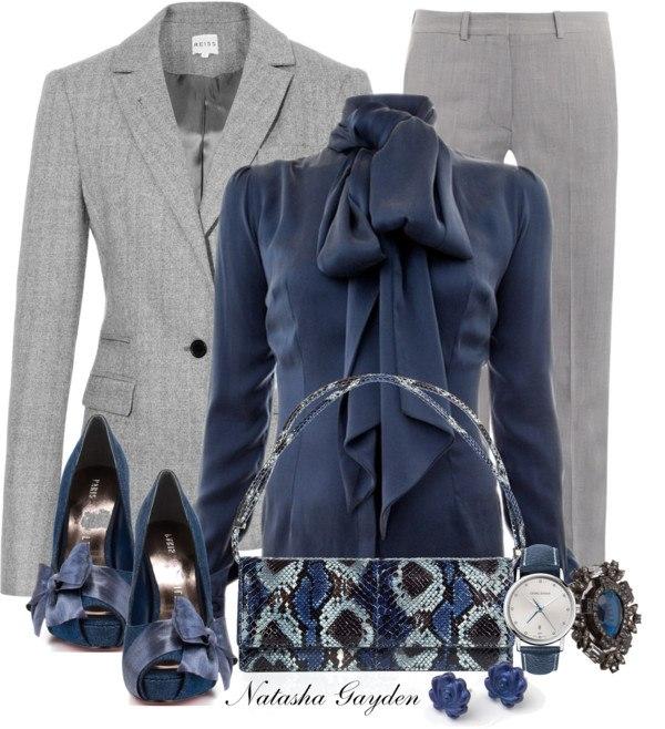 С чем носят серый пиджак женский