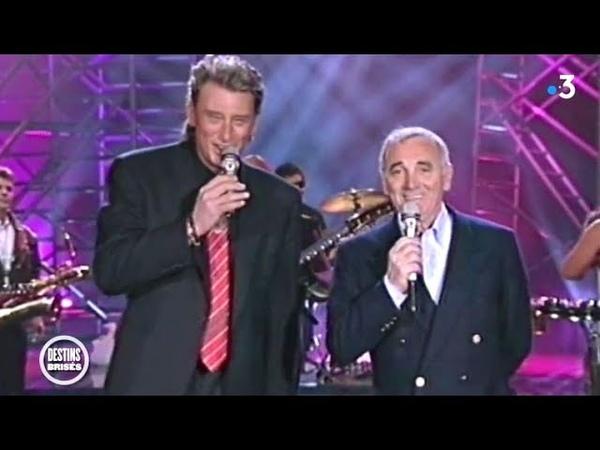 Johnny Hallyday Charles Aznavour (avril 1992) : La plus belle…, Retiens la nuit, Sur ma vie.