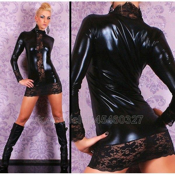 Сексуальное виниловое мини платье