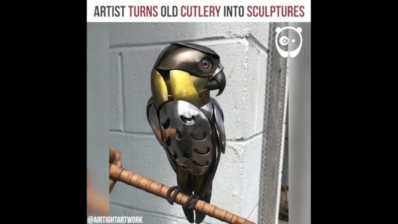 Художник превращает старые столовые приборы в скульптуры