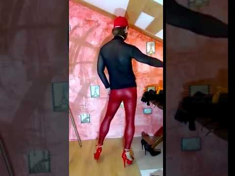 LEGION GIMENEUS, Transparent turtleneck, red leather leggings, red stripes 2
