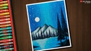 Night Sky Mountain scenery drawing for beginners with Oil Pastels step by step