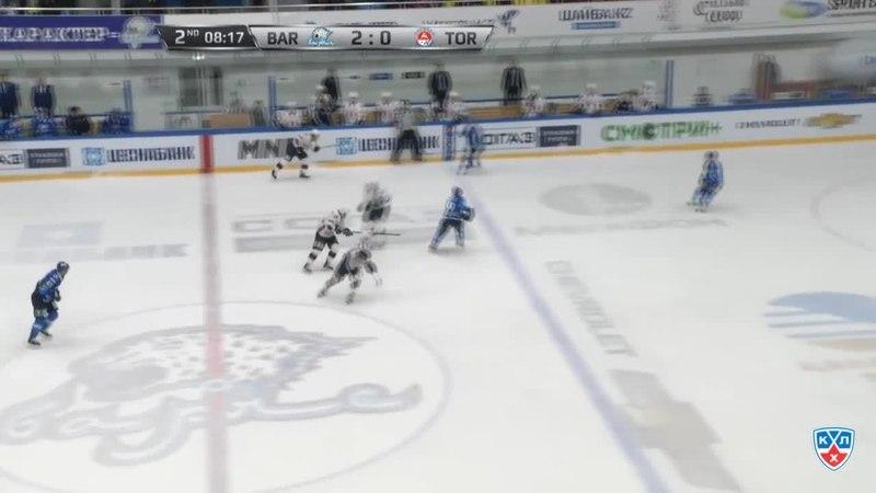 Моменты из матчей КХЛ сезона 1415 • Сэйв. Лацо Ян (Барыс) на месте 24.02