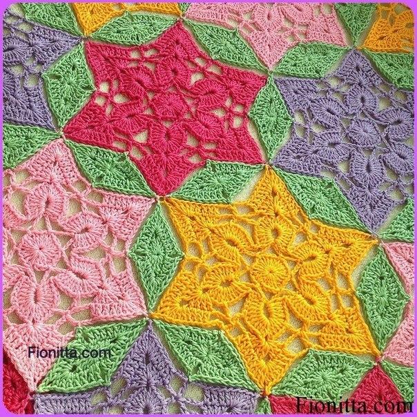 """Delicadezas en crochet Gabriela: Manta de motivos """"Grannys de colores"""""""