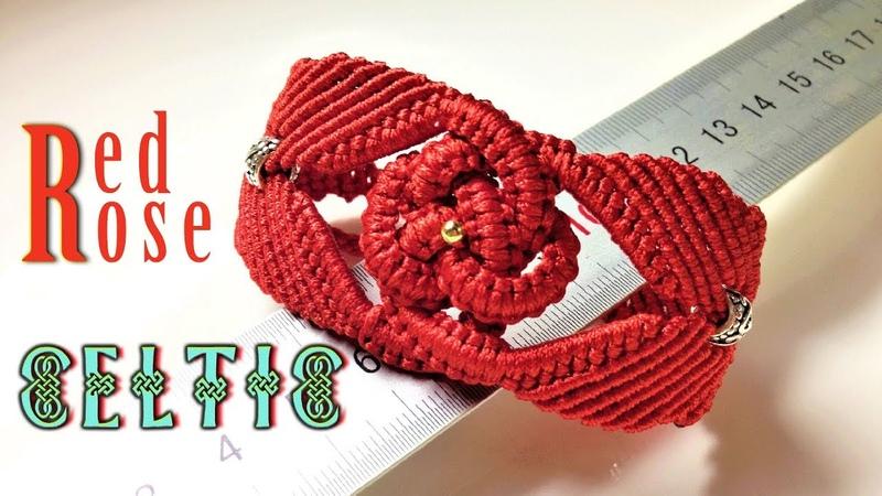 Macrame bracelet tutorial - The big red rose in Celtic pattern - Hướng dẫn thắt dây vòng nút Celtic