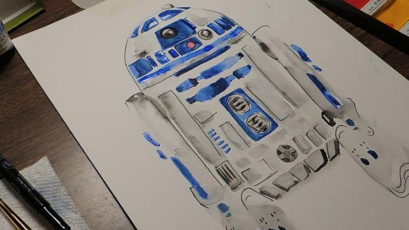 R2D2 Speed Painting - Star Wars Watercolor Timelapse