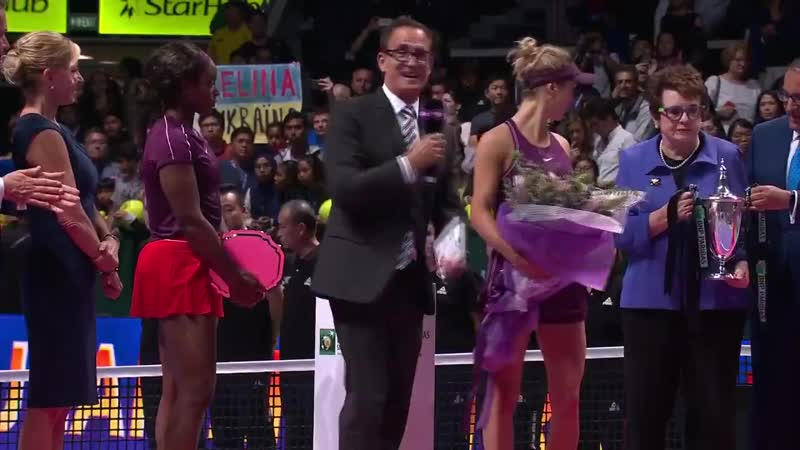WTA - .@ElinaSvitolina receives the @BillieJeanKing Trophy from the legend herself! WTAFinals