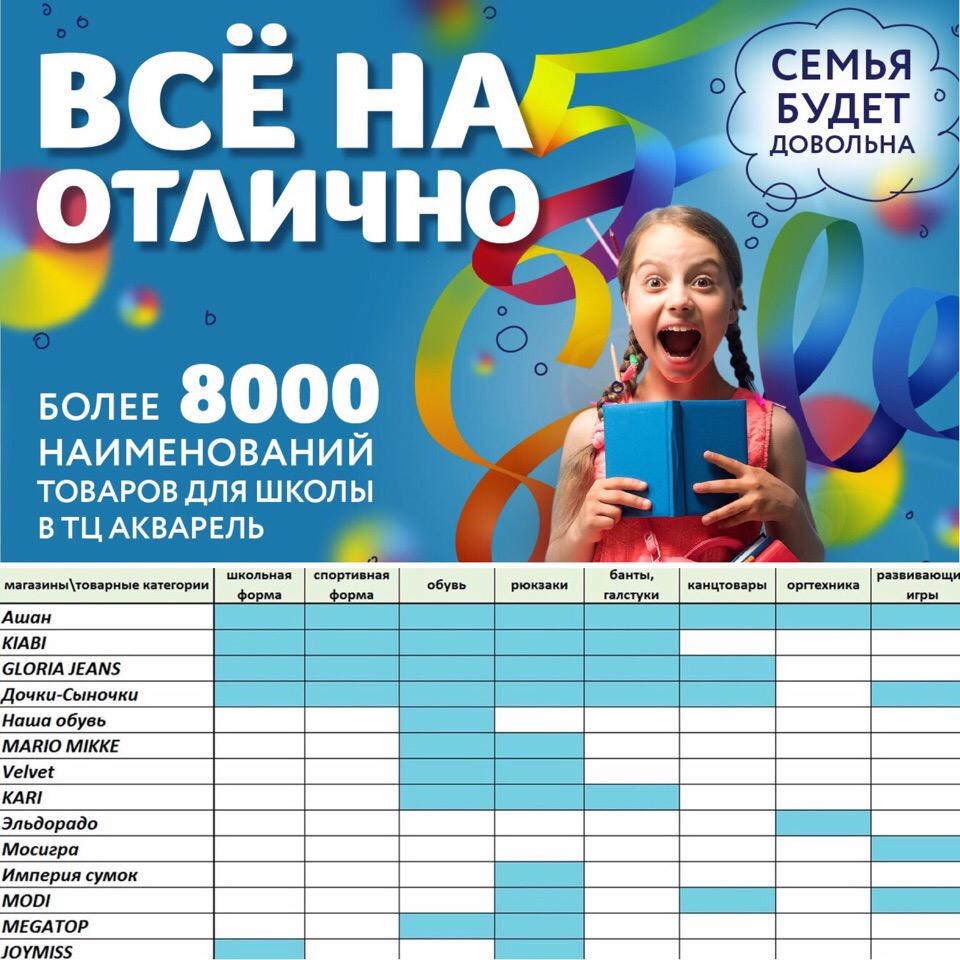 Кроме этого, в группе ТРЦ «Акварель» ВКонтакте вас ждут подборки школьных  товаров по хештегу  СкороВшколу Акварель. Более полную информацию смотрите  в ... 92a067c5ecb